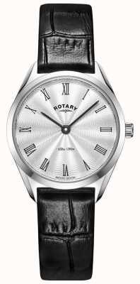 Rotary Relógio ultrafino feminino em couro prateado LS08010/01