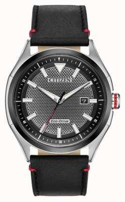 Citizen Bracelete masculina eco-drive com mostrador preto | couro preto | ver AW1148-09E