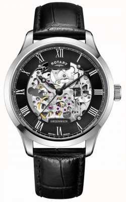 Rotary Homens | esqueleto | greenwich | relógio automático GS02940/30