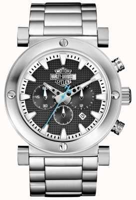 Harley Davidson Cronógrafo masculino | pulseira de aço inoxidável | mostrador preto 76B166