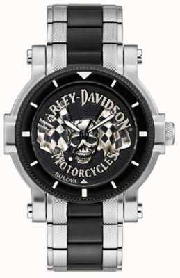 Harley Davidson Crânio dos homens e bandeiras | pulseira de aço bicolor | mostrador preto 78A124