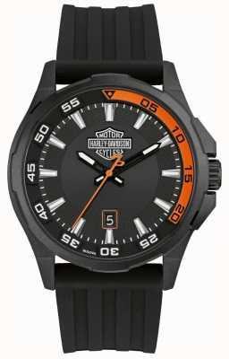 Harley Davidson Painel masculino | pulseira de silicone preta | mostrador preto 78B140