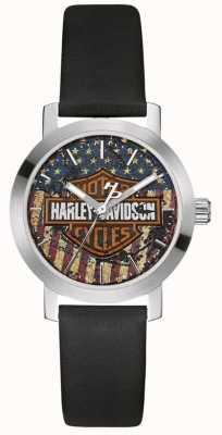 Harley Davidson Pulseira de couro preto feminino | mostrador da bandeira americana 76L174