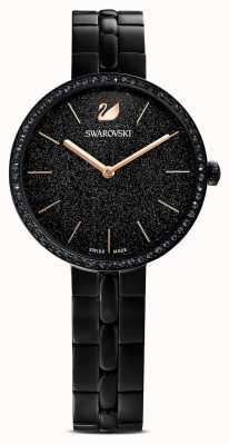 Swarovski Cosmopolitan | pulseira banhada a pvd preta | mostrador preto glitter 5547646