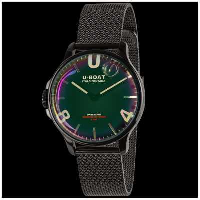 U-Boat Darkmoon 38mm | pulseira de malha preta | mostrador de arco-íris 8470/MT