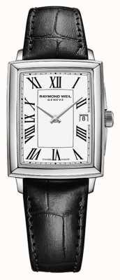 Raymond Weil Tocata feminina | pulseira de couro preta | mostrador branco 5925-STC-00300