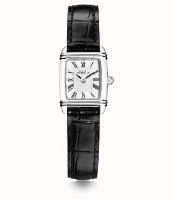 Michel Herbelin Mini art deco feminino | pulseira de couro preta | mostrador branco 17438/08