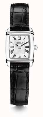 Michel Herbelin Mini art déco das mulheres | pulseira de couro preta | mostrador branco 17438/08