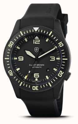 Elliot Brown Holton automático | pulseira de borracha preta | mostrador preto | 101-A10-R06