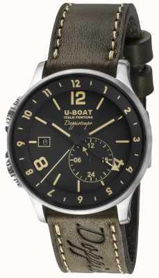 U-Boat Mostrador preto dual time 1938 doppiotempo 8400/A