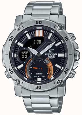 Casio Edifice | pulseira de aço inoxidável | bluetooth | mostrador preto ECB-20D-1AEF