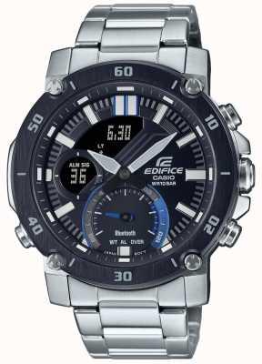 Casio Edifice | pulseira de aço inoxidável | mostrador preto / azul | ECB-20DB-1AEF