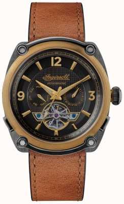 Ingersoll The michigan | relógio enrolador | pulseira marrom mostrador preto I01104