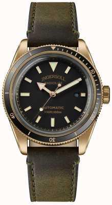 Ingersoll The scovill | relógio enrolador | pulseira verde azeitona mostrador preto I05007