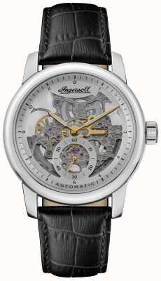 Ingersoll A pulseira de couro preto baldwin com mostrador esqueletizado prateado automático I11002