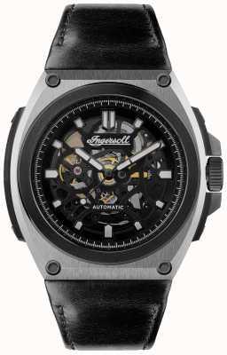 Ingersoll A pulseira de couro preta com mostrador automático de movimento I11702