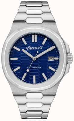 Ingersoll A pulseira de aço inoxidável com mostrador catalina honeycomb texturizado azul I11801