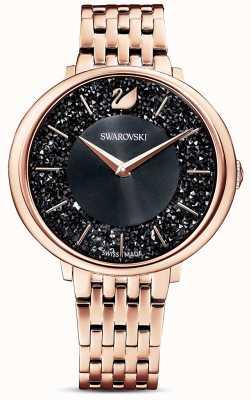 Swarovski | cristalino chique | pulseira pvd em ouro rosa | mostrador preto glitter | 5544587