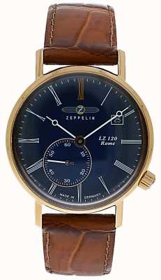 Zeppelin Lz120 roma lady | pulseira de couro marrom | mostrador azul 7137-3