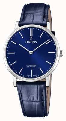 Festina Suíço masculino feito | pulseira de couro azul | mostrador azul F20012/3