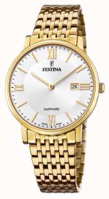 Festina Suíço masculino feito | pulseira de aço banhado a ouro | mostrador prateado F20020/1