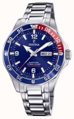 Festina Automático masculino | pulseira de aço inoxidável | mostrador azul F20478/2