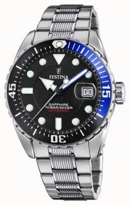 Festina Automático masculino | pulseira de aço inoxidável | mostrador preto F20480/3