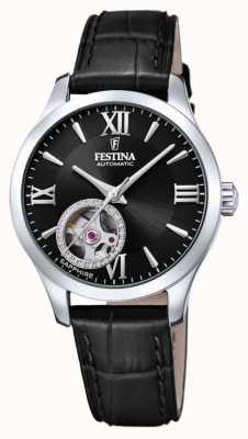 Festina Automático da mulher | pulseira de couro preta | mostrador preto F20490/3