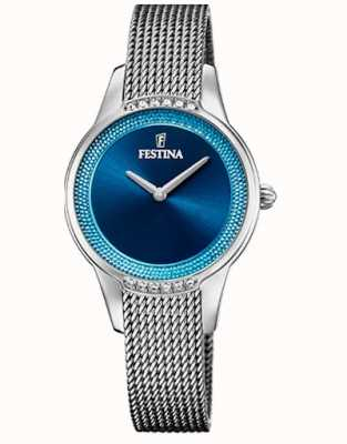Festina Cerâmica feminina | pulseira de aço / cerâmica bicolor | mostrador azul F20494/2