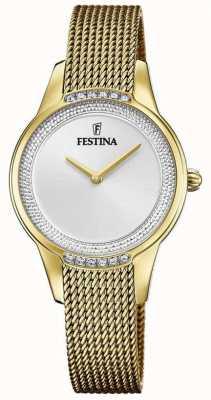 Festina Pulseira feminina em malha de aço banhado a ouro | mostrador de cristal prateado F20495/1