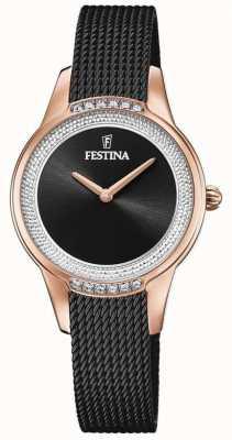 Festina Pulseira feminina em malha de aço preta | mostrador de cristal preto F20496/2