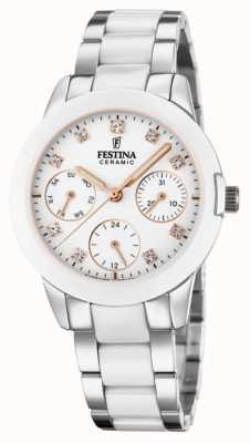 Festina Cerâmica feminina | pulseira de aço / cerâmica bicolor | mostrador branco F20497/1