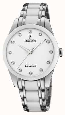 Festina Cerâmica feminina | pulseira de aço / cerâmica bicolor | mostrador branco F20499/1