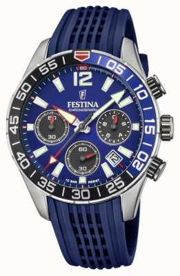 Festina Cronógrafo masculino | pulseira de silicone azul | mostrador azul F20517/1