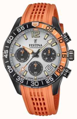 Festina Cronógrafo masculino | pulseira de silicone laranja | mostrador cinza F20518/1