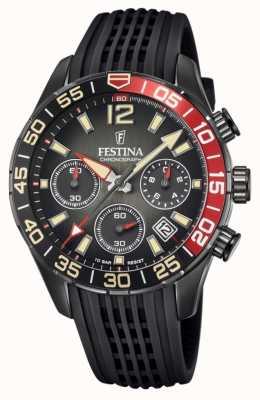 Festina Cronógrafo masculino | pulseira de silicone preta | mostrador preto F20518/3
