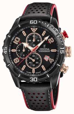 Festina Cronógrafo masculino | pulseira de couro preta | mostrador preto F20519/4