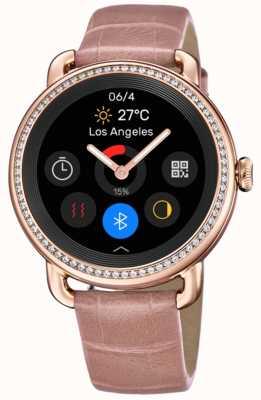Festina Smartime | pulseira de couro rosa feminina | tela colorida | conjunto de cristal F50002/2
