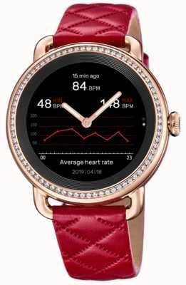 Festina Smartime | pulseira de couro vermelho feminino | conjunto de cristal | tela colorida | F50002/3