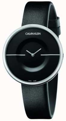Calvin Klein Mania | pulseira de couro preto feminino | mostrador preto KAG231C1