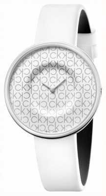 Calvin Klein Mania | pulseira de couro branco para senhora | mostrador branco KAG231LX