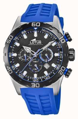 Lotus Cor | pulseira de silicone azul para homem | mostrador cronógrafo preto L18677/4