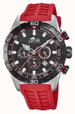 Lotus Cor | pulseira de silicone vermelha para homens | mostrador cronógrafo preto L18677/6