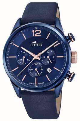 Lotus Pulseira de couro azul dos homens | mostrador cronógrafo azul L18681/2