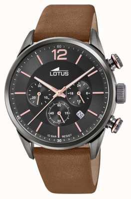 Lotus Pulseira de couro marrom dos homens | mostrador cronógrafo preto L18687/2