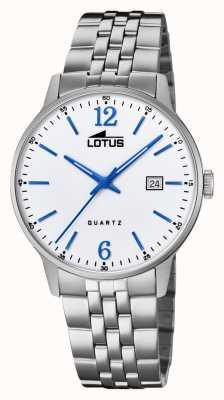 Lotus Pulseira masculina de aço inoxidável | mostrador prateado | mãos / marcadores azuis L18694/2