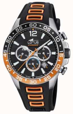 Lotus Pulseira de silicone preta / laranja masculina | mostrador cronógrafo preto L18697/1