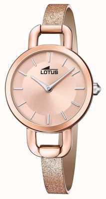 Lotus Pulseira de couro com glitter feminino | mostrador de ouro rosa L18747/1