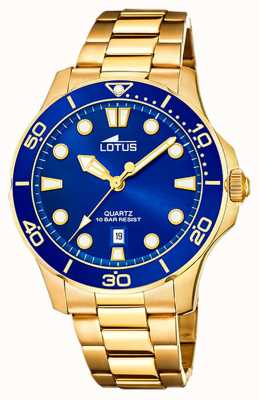 Lotus Pulseira masculina de aço banhado a ouro | mostrador azul L18761/1