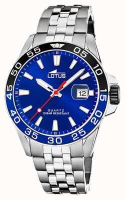 Lotus Pulseira masculina de aço inoxidável | mostrador azul | moldura preta / azul L18766/1
